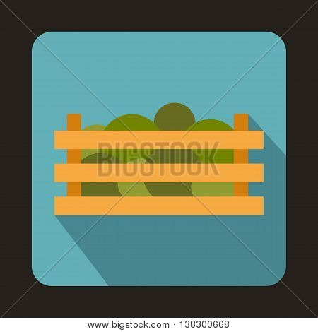 Watermelons in wooden crate icon in flat style on a baby blue background