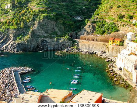 National Park of Cinque Terre. Aerial view of the port of Vernazza from the Tower of the Doria Castle. Unesco Heritage. Liguria, Italy.