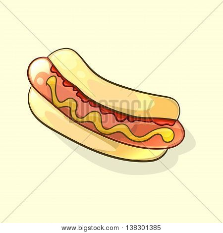 Tasty hot dog in cartoon style for junk food or healthy nutrition concept design. Vector illustration