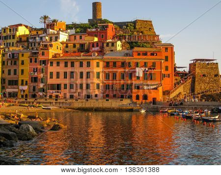 Vernazza at sunset, village of Cinque Terre in Liguria, Italy.