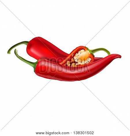 Hot red chili peppers. Isolated illustration on white background.