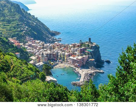Aerial View of Vernazza, one of the jewels of Cinque Terre National Park, Unesco Heritage. Liguria, Italy.