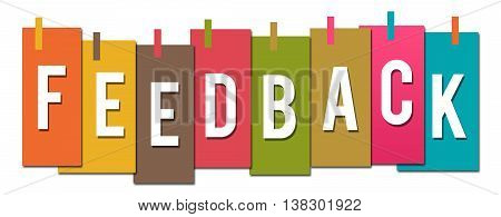 Feedback text alphabets written over colorful background.