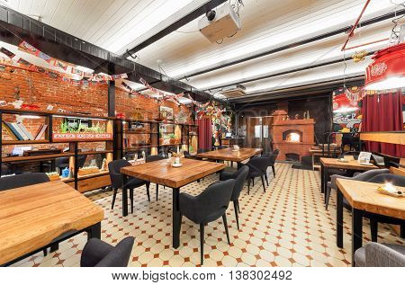MOSCOW/RUSSIA - JANUARY 2015. Interior of the Russian farm restaurant
