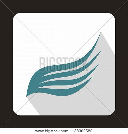 Blue wing icon in flat style on a white background