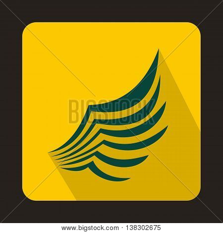 Wing icon in flat style on a yellow background