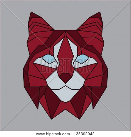 Red and grey low poly bobcat. Geometric line art
