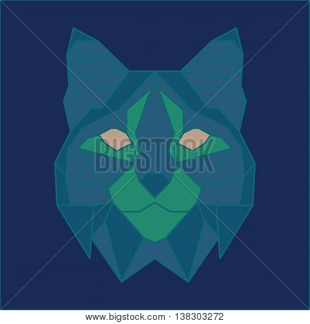 Green and blue low poly bobcat. Geometric line art