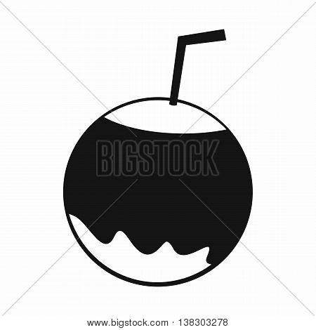 Coconut with straw icon in simple style isolated vector illustration