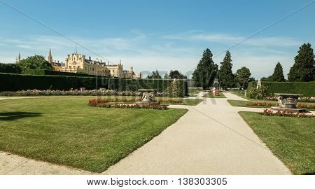Panoramic view on Lednice Chateau on summer day Czech Republic Europe