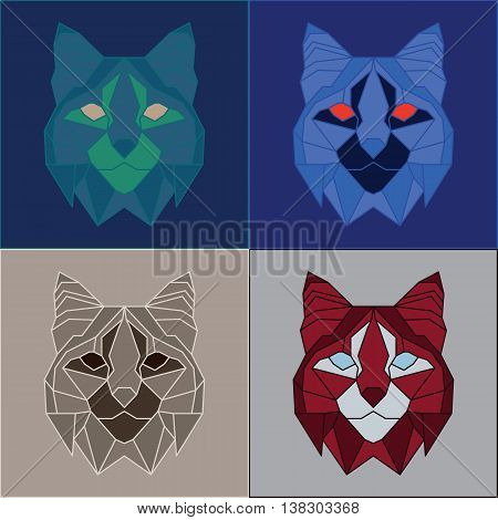 Low poly bobcats set. Four color variations