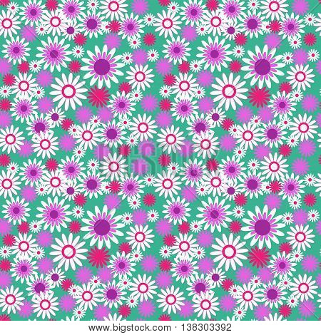 the seamless floral pattern on green background