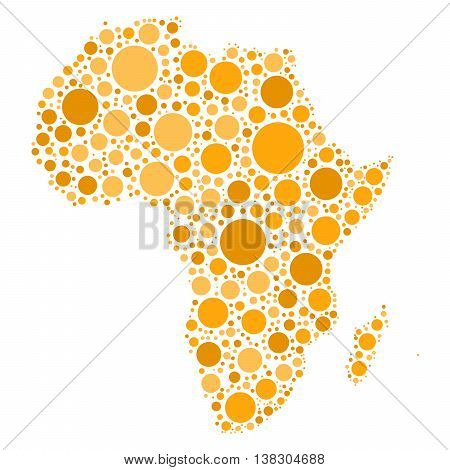 Africa map mosaic of orange dots in various sizes and shades on white background. Vector illustration.