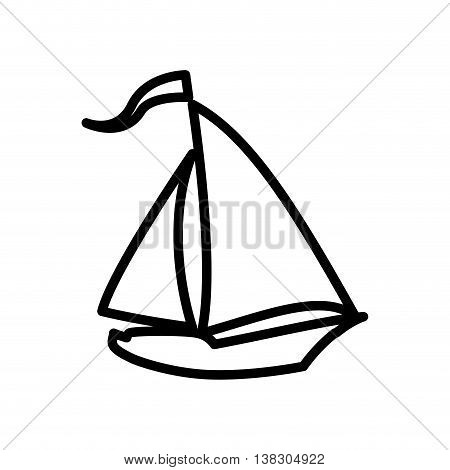 Transportation concept represented by sailboat silhouette icon. Isolated and flat illustration