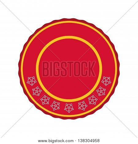 Label concept represented by red seal stamp icon. Isolated and flat illustration