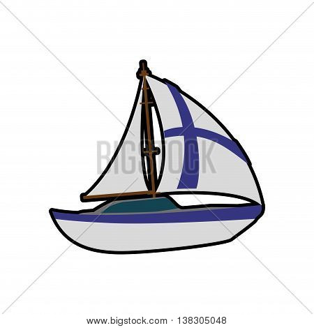 Finland concept represented by sailboat with flag icon. Isolated and flat illustration
