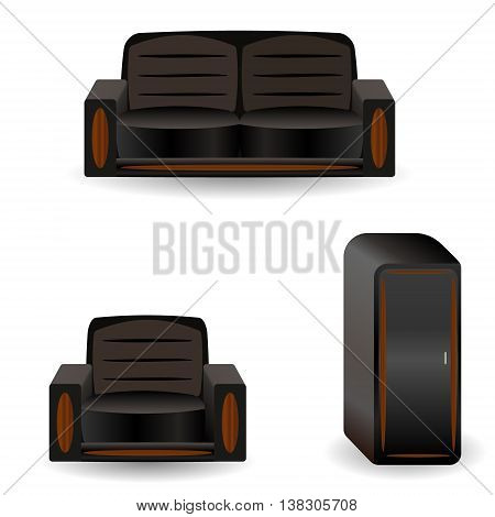 A set of furniture sofa wardrobe, armchair.Vector illustration object