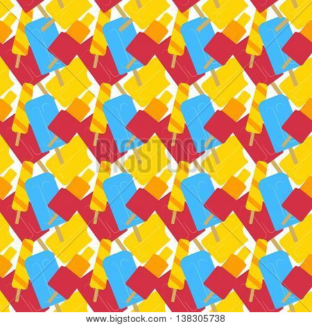Seamless pattern with fruity ice cream icicles