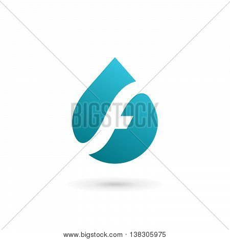 Letter F Water Drop Logo Icon Design Template Elements