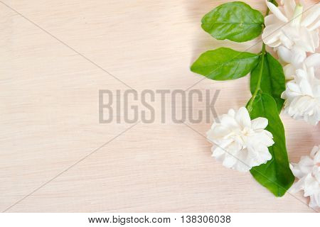 Jasmine Flowers Spread On Wooden Board Background
