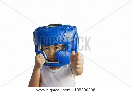 Boxer woman during boxing exercise making direct hit with blue glove / photo set of sporty muscular female brunette girl wearing sports clothes over white background