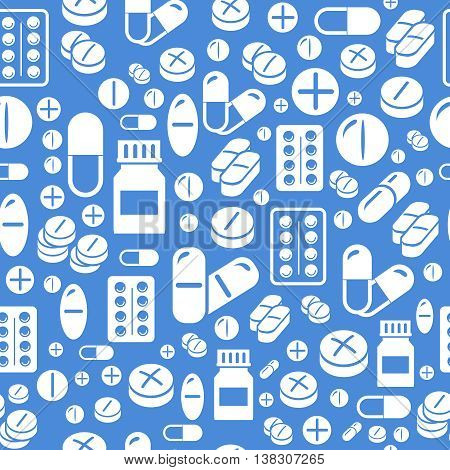 Background made from pills and capsules  seamless pattern. pharmacy Illustration