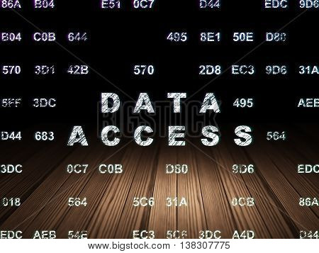 Information concept: Glowing text Data Access in grunge dark room with Wooden Floor, black background with Hexadecimal Code