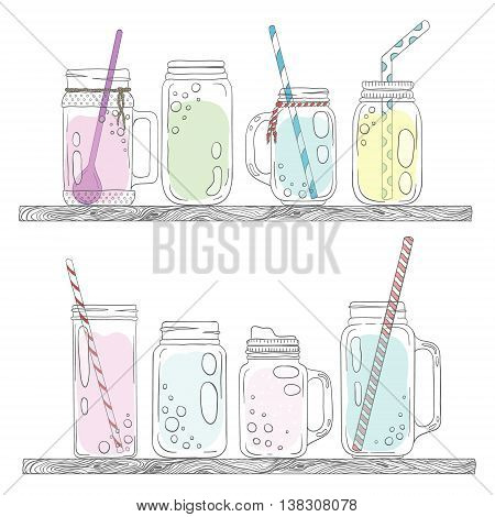 Jars for smoothies and lemonades. Scandinavian style set. Used elements included.