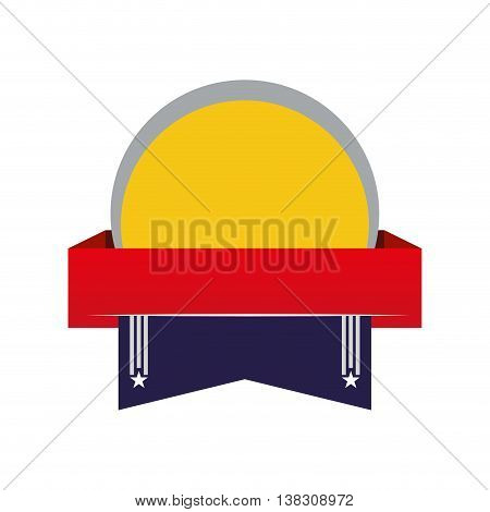 Label concept represented by seal stamp with ribbon icon. Isolated and flat illustration.
