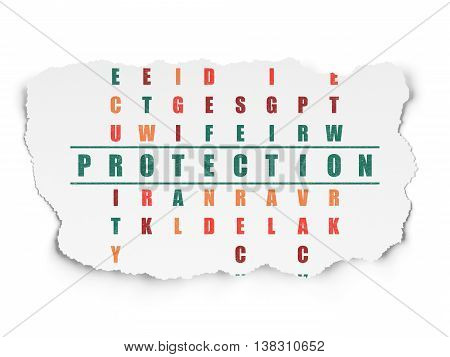 Protection concept: Painted green word Protection in solving Crossword Puzzle on Torn Paper background