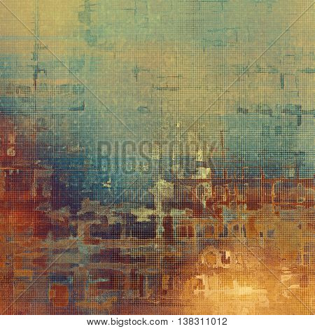 Grunge retro texture, aged background with vintage style elements and different color patterns: yellow (beige); brown; blue; cyan; red (orange); purple (violet)