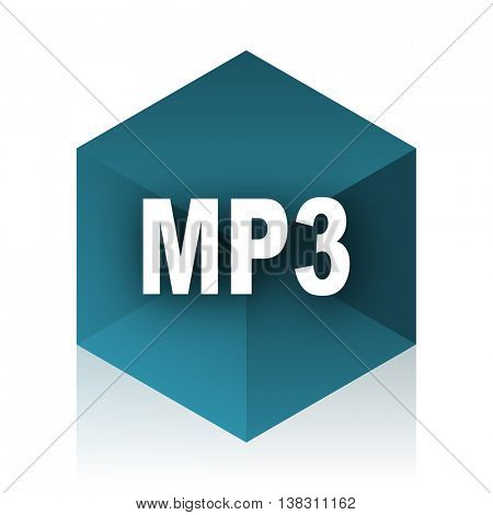 mp3 blue cube icon, modern design web element