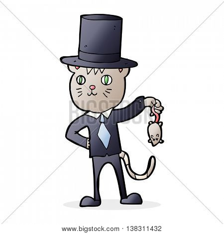 cartoon wealthy cat dangling a dead mouse
