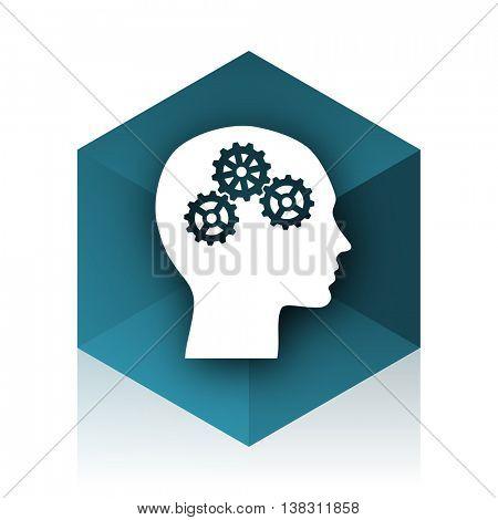 head blue cube icon, modern design web element