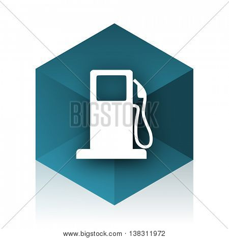 petrol blue cube icon, modern design web element