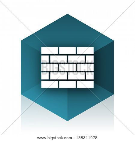 firewall blue cube icon, modern design web element