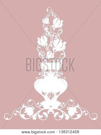 vintage vase with rose flowers - white floral bunch vector design