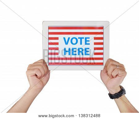 Hands holding tablet with vote here inscription