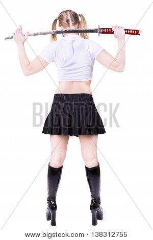 Bad girl holding katana isolated on white background.
