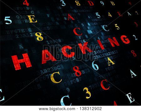 Security concept: Pixelated red text Hacking on Digital wall background with Hexadecimal Code