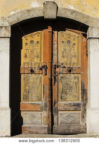 Very old lovley old door with handcrafted details.