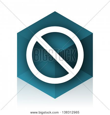 access denied blue cube icon, modern design web element