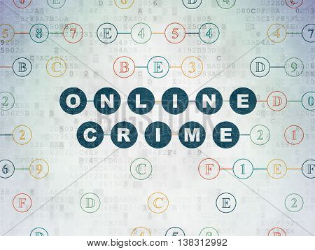 Security concept: Painted blue text Online Crime on Digital Data Paper background with Hexadecimal Code