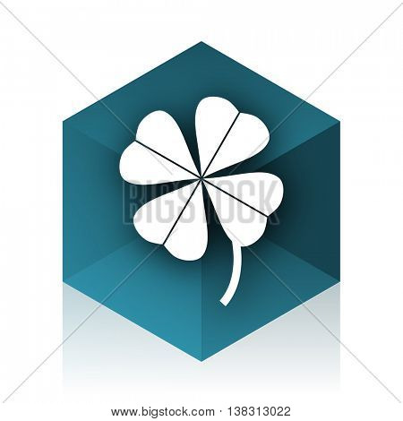 four-leaf clover blue cube icon, modern design web element