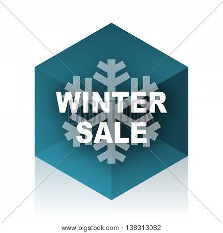 winter sale blue cube icon, modern design web element