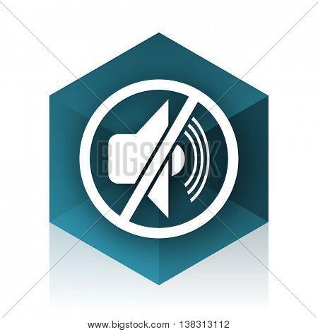mute blue cube icon, modern design web element