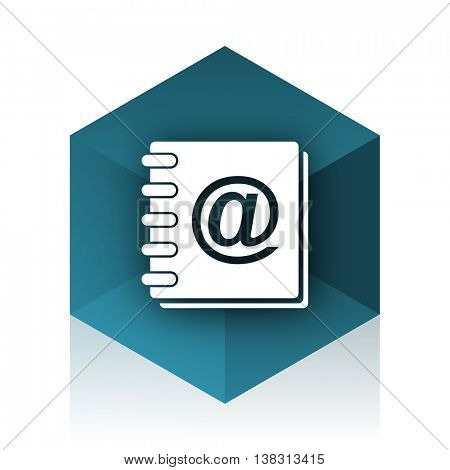 address book blue cube icon, modern design web element