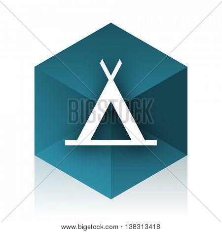 camp blue cube icon, modern design web element