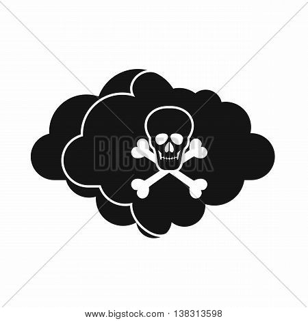 Cloud with skull and bones icon in simple style isolated vector illustration