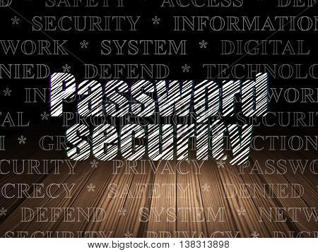 Safety concept: Glowing text Password Security in grunge dark room with Wooden Floor, black background with  Tag Cloud